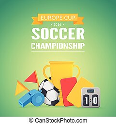 UEFA Euro 2016 background. - Football equipment and text....