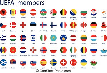 UEFA members flags - Vector illustration set, collection...