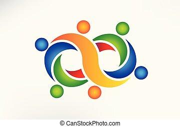 uendelighed, folk, symbol, vektor, teamwork, logo