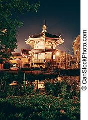 Ueno park at night in Tokyo, Japan.