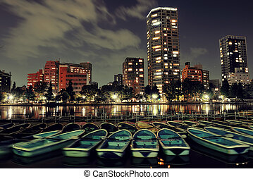 Ueno park at night with lake boat and apartment building in Tokyo, Japan.