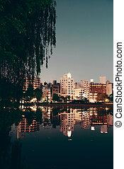 Ueno park in Tokyo at night with lake reflection, Japan.