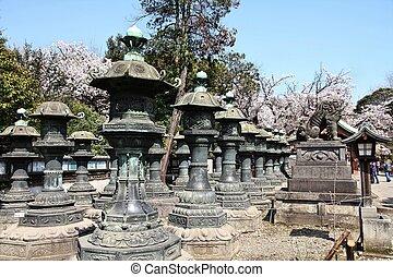 Tokyo, Japan - copper lanterns of Toshogu shrine in Ueno park