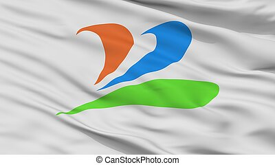 Uenohara City Flag, Japan, Yamanashi Prefecture, Closeup ...