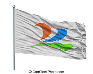 Uenohara City Flag On Flagpole, Japan, Yamanashi Prefecture...