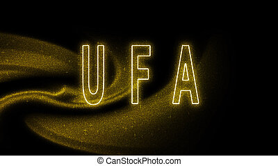 Ufa Gold glitter lettering, Ufa Tourism and travel, Creative typography text banner, on black background.
