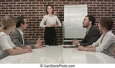 ufficio, affari, dare, donna d'affari, presentazione, flipchart., riunione