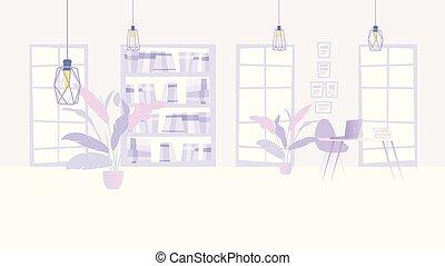 ufficio affari, ditta, illustrazione, interno, confortevole