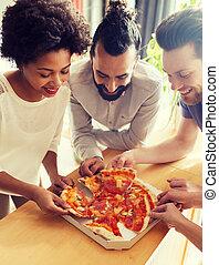 ufficio, affari, felice, consumo pizza, squadra