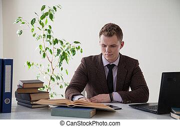 ufficio affari, impiegato, computer lavora, uomo