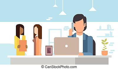 ufficio, affari, laptop, telefono cellulare, usando, parlare, far male, uomo
