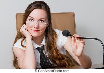 ufficio, affari, riuscito, donna d'affari, speakerphone, questo, environment., theme:, serie, ritratto, portafoglio, mio, più