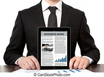ufficio, affari, schermo, tavoletta, uomo affari, computer, presa a terra, completo, notizie