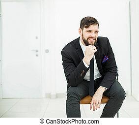 ufficio, affari, seduta, riuscito, completo, uomo affari, sedia