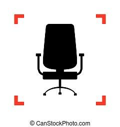 ufficio, angoli, segno., fuoco, nero, sedia, bianco, backgrou, icona