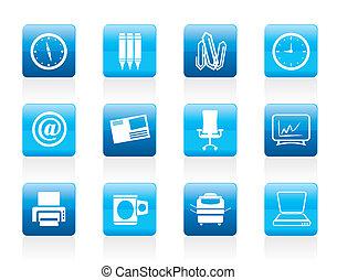 ufficio, attrezzi, icone, affari