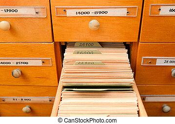 ufficio., biblioteca, uno, antico, o, database, open., concept., scatola, scheda, catalog., gabinetto, file