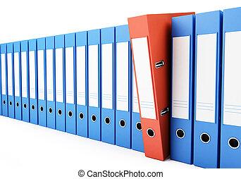 ufficio, cartelle, rilegatore, fondo, illustrazioni, bianco,...