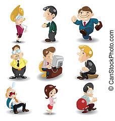 ufficio, cartone animato, icona, lavorante