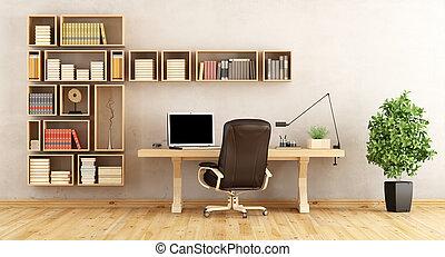 Scrivania Ufficio In Casa : Ufficio semplice borgogna scrivania legno interno casa