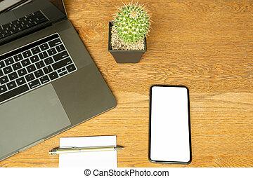 ufficio, cima, laptop, paper., scrivania, penand, cellphone, vista