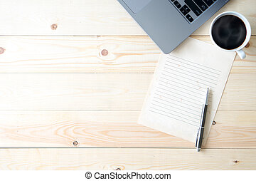 ufficio, cima legno, computer, scrivania, provviste, vista