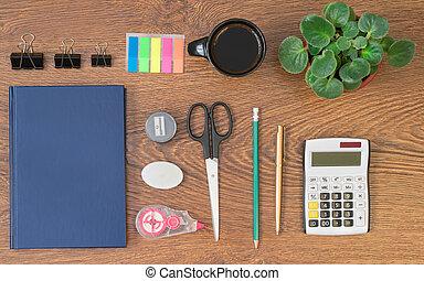 ufficio, cima legno, stationery, tavola, vista.