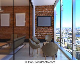 ufficio, cima, programmazione strutturata, interpretazione, vista., 3d