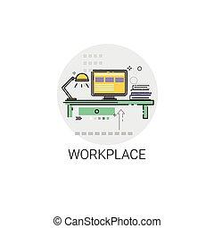 ufficio, computer, posto lavoro, workspace, scrivania, icona