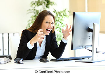 ufficio, controllo, arrabbiato, lavoratore, contenuto, computer