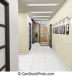 ufficio, corridoio, moderno