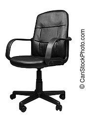 ufficio, cuoio, isolato, fondo, sedia, bianco
