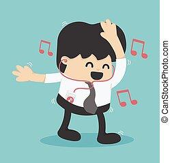 ufficio, dance., musica, uomo affari, ascoltare, felice