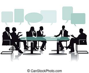 ufficio, dibattito, discussione