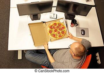 ufficio, -, digiuno, rottura, sollevamento, uomo, pasto, pizza