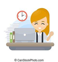 ufficio., donna, lavorativo