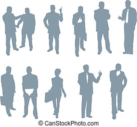 ufficio, e, persone affari, silhouette