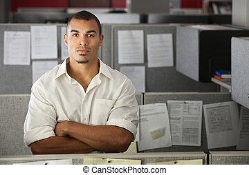 ufficio, fiducioso, lavoratore