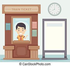 ufficio, illustrazione, treno, asse, biglietto, uomo