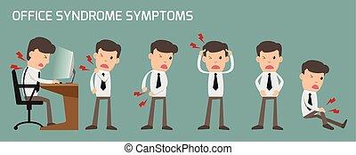 ufficio, indietro, possedere, organi, illustration., sindrome, concept., sintomi, salute, infiammazione, cura, headache., stomaco, affari, effetto, mano, infographics., uomo, collo, medico, pain., vettore, dolore