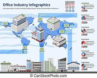 ufficio, industria, infographics