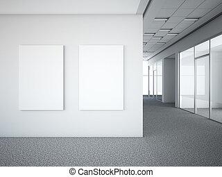 ufficio interno, con, due, bianco, cornici