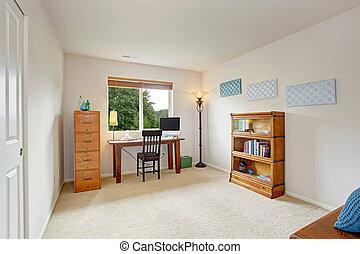 ufficio interno, con, semplice, scrivania, e, scaffale