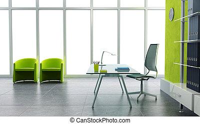 ufficio interno, moderno, 3d