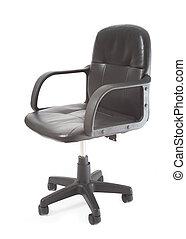 ufficio, isolato, sfondo nero, sedia, bianco