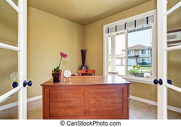 ufficio, legno, finestra., scrivania, interno, casa