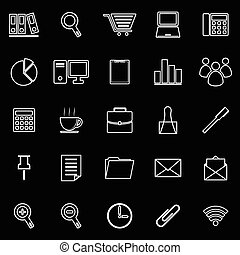ufficio, linea, icona, bianco, fondo