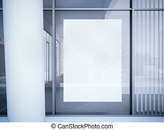 ufficio, manifesto, interpretazione, finestra., bianco, 3d