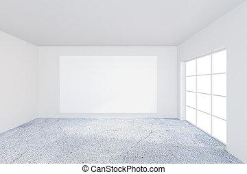 ufficio, manifesto, wall., interpretazione, bianco, vuoto, 3d