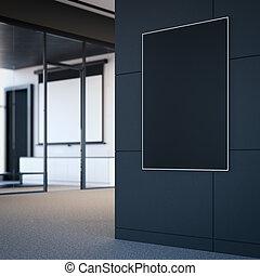 ufficio, manifesto, wall., interpretazione, nero, vuoto, 3d